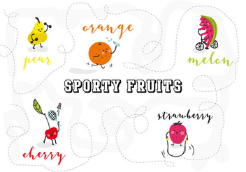 Free Sporty Fruits Character Vector Illustration - Free vector #361911