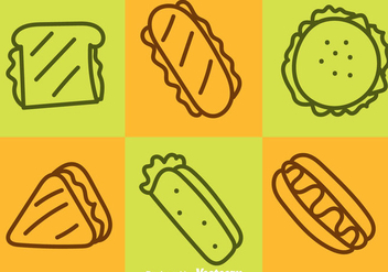 Fast Food Outline Icons - Free vector #361921