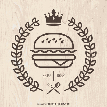 Hispter fast food emblem - Free vector #361991