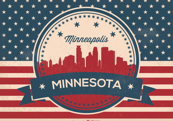 Retro Minneapolis Skyline Illustration - Free vector #362261