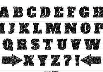 Black Scribble Alphabet Set - Kostenloses vector #362601