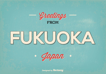 Retro Fukuoka Japan Greeting Illustration - Kostenloses vector #362651