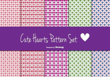 Cute Heart Pattern Set - vector gratuit #362761
