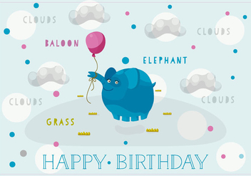 Free Happy Birthday Vector Background with Cute Elephant - Kostenloses vector #362911
