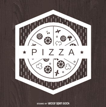 Geometric pizza emblem - Free vector #362991