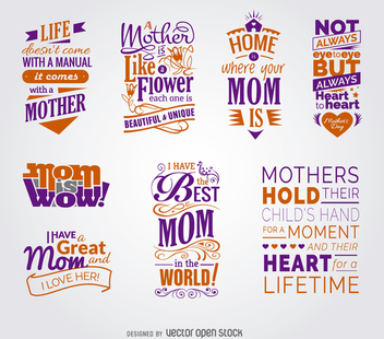 Collection of Mother's Day quotes - vector gratuit #363001