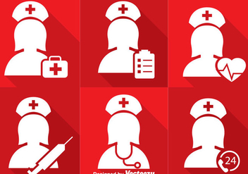 Nurse White Icons - vector #363051 gratis