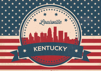 Retro Luisviile Kentucky Skyline Illustration - Free vector #363091