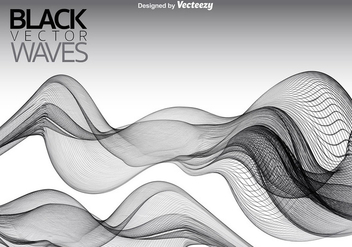 Vector Black Smooth Waves Background - бесплатный vector #363181