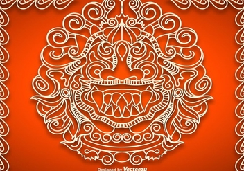 Vector Mythological Barong Face - vector #363231 gratis