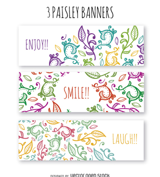 Floral swirl banner set - Free vector #363251