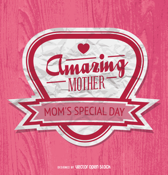 Mother's Day badge in pink - vector gratuit #363261