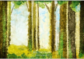 Free Vector Watercolor Forest Background - Free vector #363381