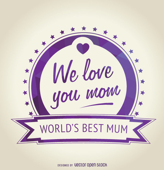 Purple Mother's Day badge - vector gratuit #363451