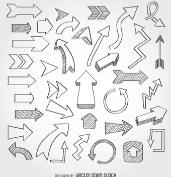 Hand drawn arrow set - Free vector #363501