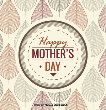 Autumn Mother's Day emblem - vector gratuit #363511