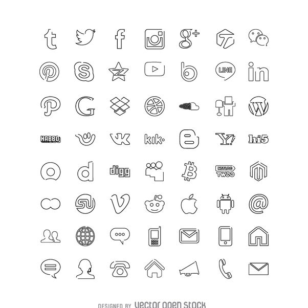 Social media icons collection - Kostenloses vector #363621