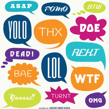 Slang words speech bubble set - vector gratuit #363771