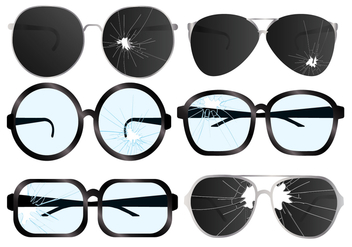 Cracked Glasses Vector Set - vector gratuit #363881