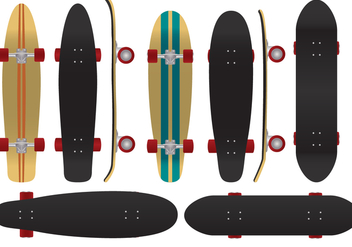 The Coolest Board To Play - Longboard Vectors - бесплатный vector #363911