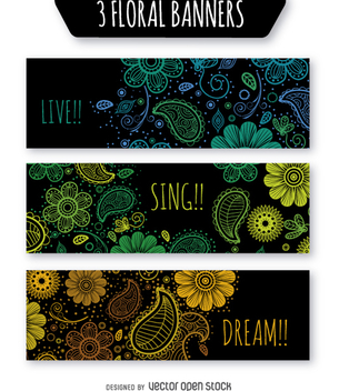 Floral banner set over black background - бесплатный vector #363941
