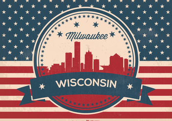 Retro Milwaukee Wisconsin Skyline Illustration - vector gratuit #364001