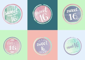 Free Sweet 16 Watercolor Vectors - vector gratuit #364171