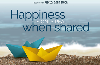 Happiness is only real when shared poster - vector gratuit #364221