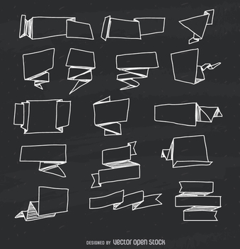 Hand drawn ribbon set - vector gratuit #364231