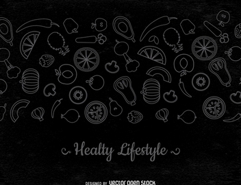 Thin line vegetables banner - vector gratuit #364451