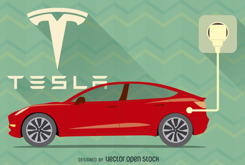 Red Tesla car vector with logo and plug - Free vector #364471