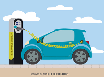 Electric car charging - vector gratuit #364481
