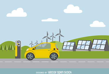 Electric card with renewable energy sources vector - Free vector #364751
