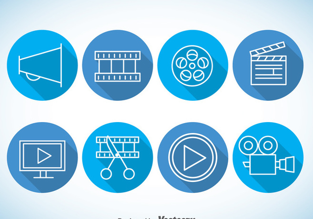 Video editing Blue Icons Vector - Kostenloses vector #365001