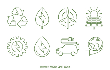 Ecology and renewable energy icon set - Free vector #365041