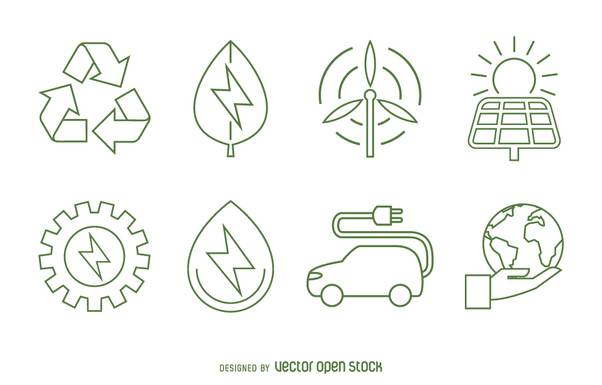 Ecology and renewable energy icon set - vector #365041 gratis