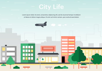 Free Flat Urban Landscape Vector Background - Kostenloses vector #365251