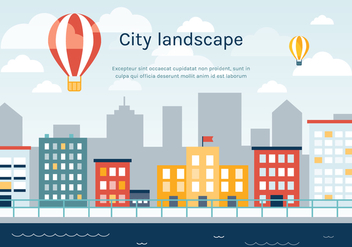 Free Flat Urban Landscape Vector Background - Kostenloses vector #365361