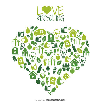 Heart with recycling and environment icons - vector gratuit #365451