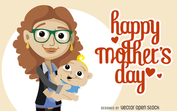 Happy Mother's Day card - vector gratuit #365571