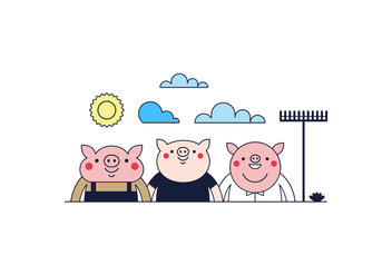 Free Three Little Pigs vector - vector gratuit #365661
