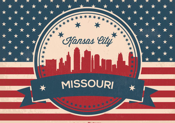 Retro Kansas City Missouri Skyline Illustration - vector gratuit #365811