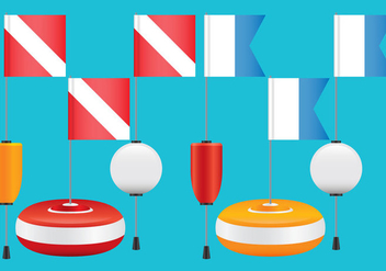 Diving Flags And Buoys - vector gratuit #365951