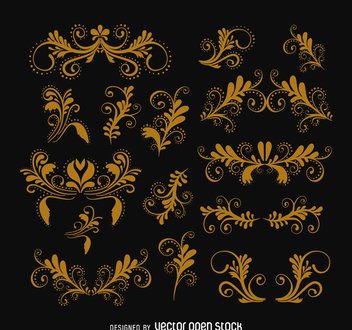 Vintage swirls ornament set - Free vector #365971