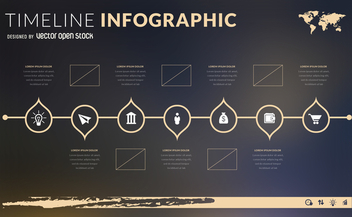 Flat design timeline infographic template - Free vector #366341