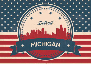 Detriot Michigan Retro Skyline Illustration - Free vector #366511