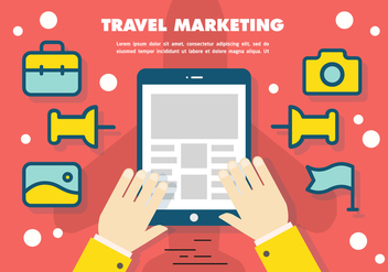 Free Flat Travel Marketing Vector Background - Kostenloses vector #367291