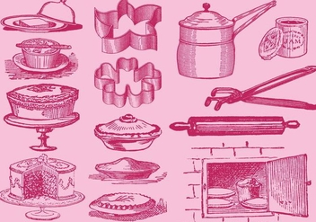 Vintage Desserts And Kitchen Tool Vectors - Free vector #367301