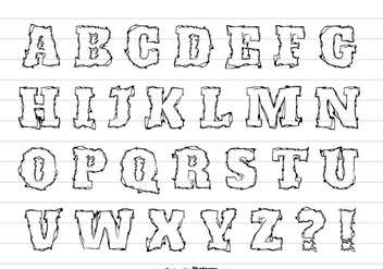Messy Hand Drawn Alphabet Set - vector gratuit #367691