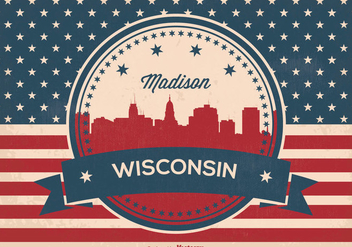 Retro Madison Wisconsin Skyline Illustration - vector gratuit #367701